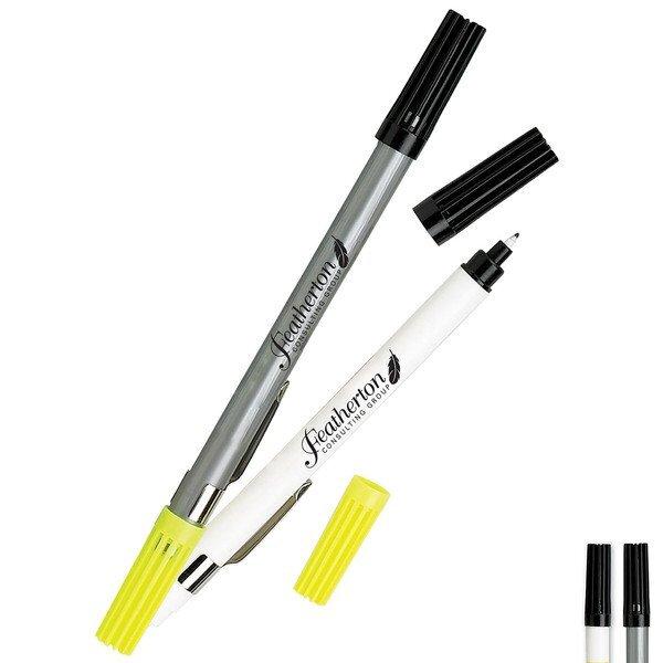 Double Header Nylon Point Pen & Highlighter