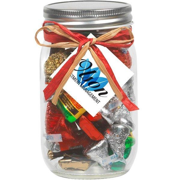 Raffia Bow Glass Mason Jar with  Hershey's® Holiday Mix™ , 16oz.