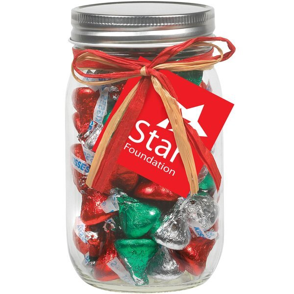 Raffia Bow Glass Mason Jar with Hershey's® Holiday Kisses®, 16oz.