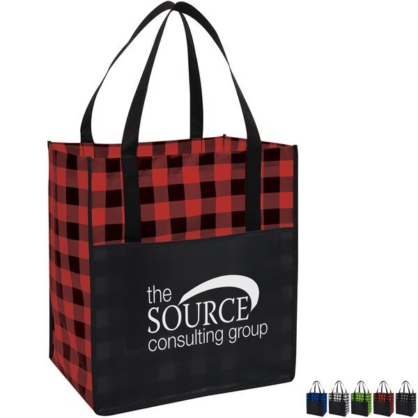 Northwoods Laminated Non-Woven Plaid Tote Bag