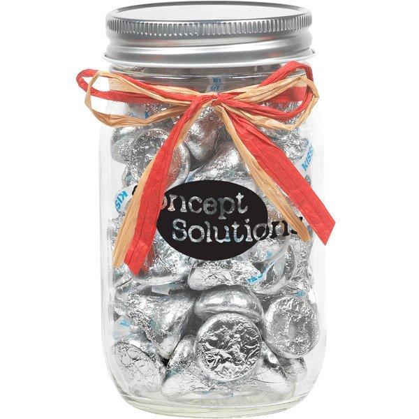 Raffia Bow Glass Mason Jar with  Hershey's® Kisses® , 16oz.