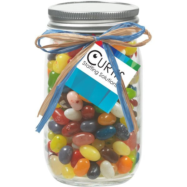 Raffia Bow Glass Mason Jar with Jelly Belly® Jelly Beans, 16oz.
