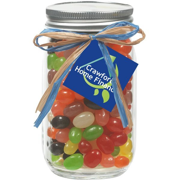Raffia Bow Glass Mason Jar with Assorted Jelly Beans, 16oz.