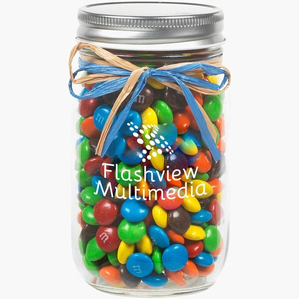 Raffia Bow Glass Mason Jar with M&M's®, 16oz.