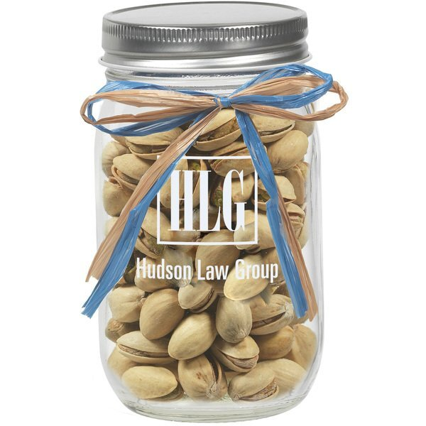 Raffia Bow Glass Mason Jar with Pistachios, 16oz.