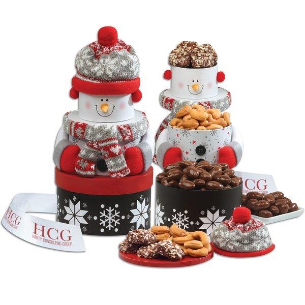 Festive Snowman Gourmet Treats Tower