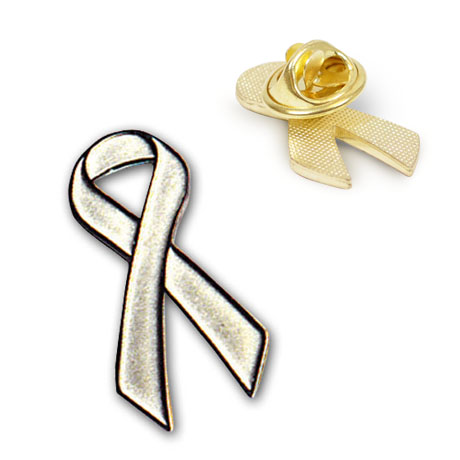 Silver Ribbon Lapel Pin