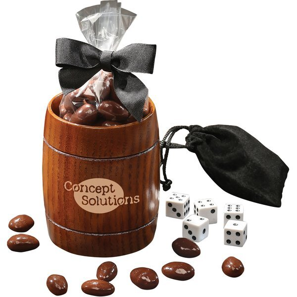 Classic Wooden Barrel Cup with Chocolate Colored Almonds & Dice Set