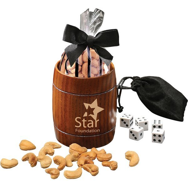 Classic Wooden Barrel Cup with Extra Fancy Jumbo Cashews & Dice Set