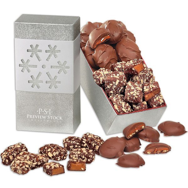 Pecan Turtles & English Butter Toffee in Snowflake Gift Box