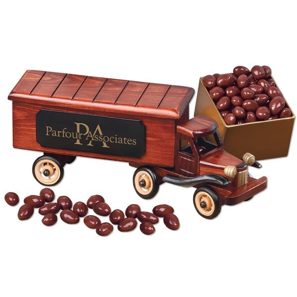 Vintage 1940-Era Tractor Trailer Truck with Chocolate Covered Almonds