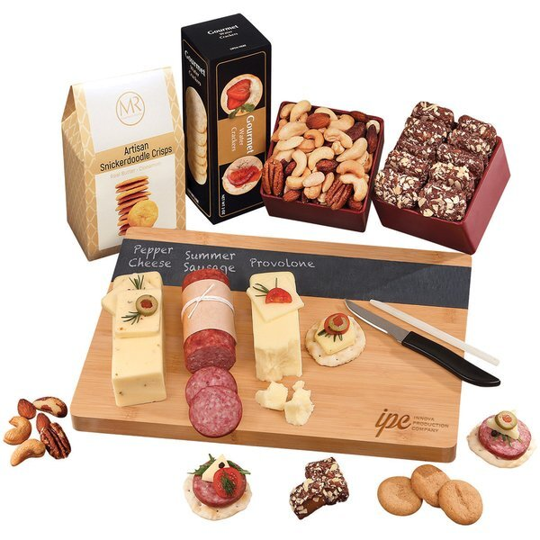 Charcuterie Party Starter with Bamboo & Slate Cutting Board, Shelf-Stable