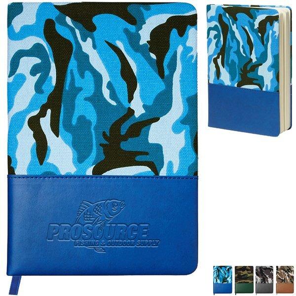 "Hard Cover Camo Canvas Journal, 5-3/4"" x 8-1/3"""