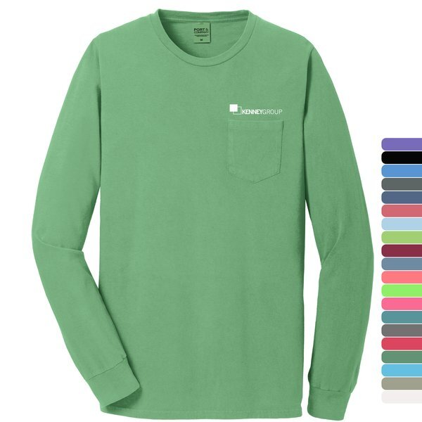 Port & Company® Beach Wash™ Garment-Dyed Unisex Long Sleeve Pocket Tee