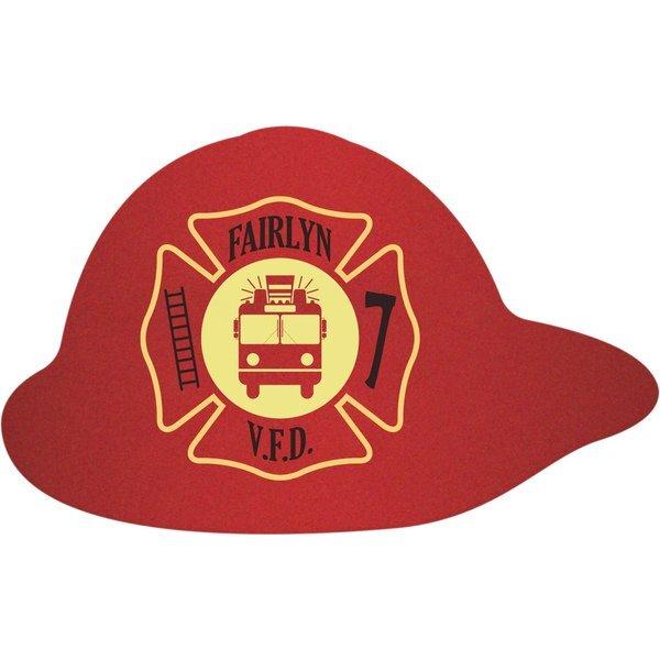 Fire Helmet Pulpboard Coaster w/ Full Color Imprint, 80 pt.