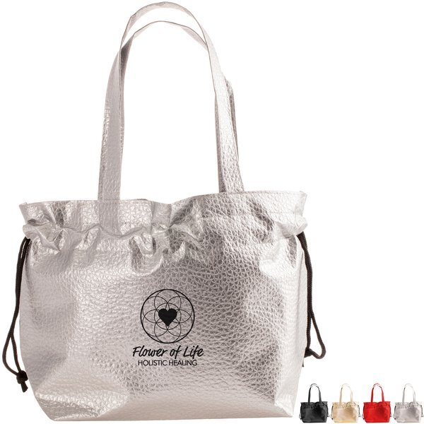 Wrap-It-Up Metallic Croc Laminated Non Woven Cinch Bag