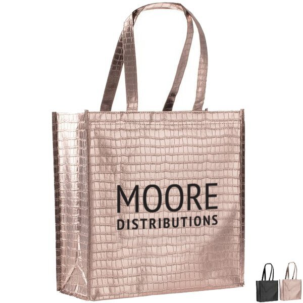 Glam Metallic Croc Laminated Non Woven Shopper Tote