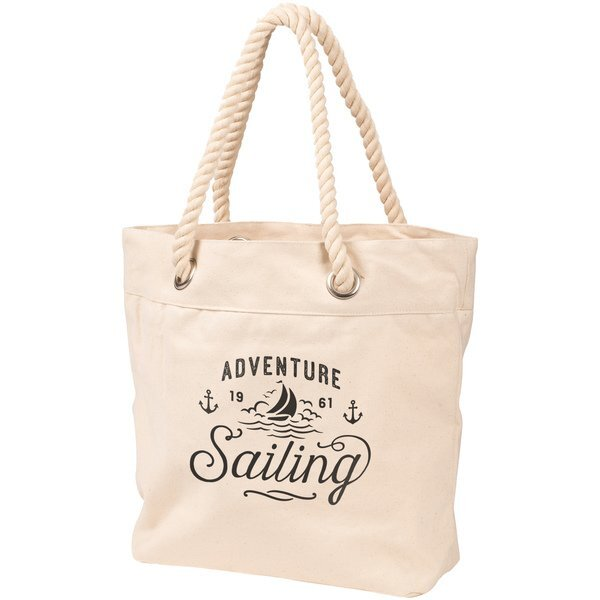 Trendy Cotton Canvas Rope Handle Tote