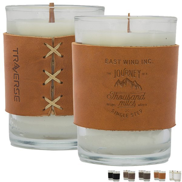 Harper Leather Wrapped Candle, 8oz.