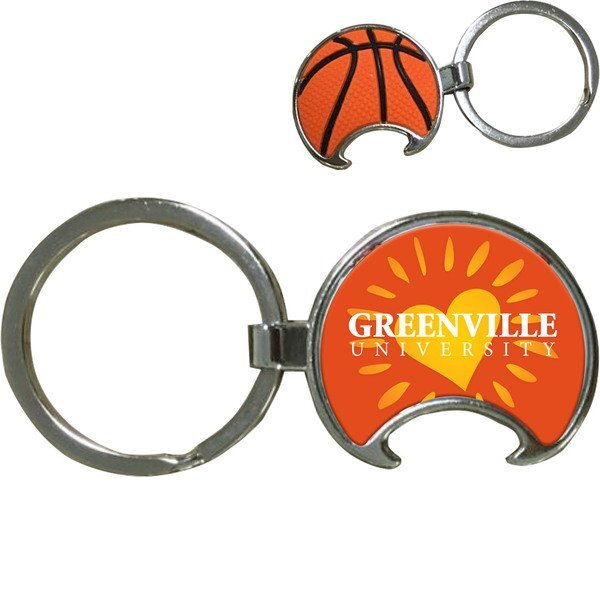 Basketball Bottle Opener Key Tag w/ Full Color Imprint