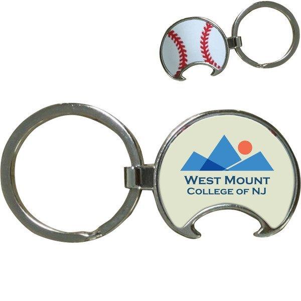 Baseball Bottle Opener Key Tag w/ Full Color Imprint