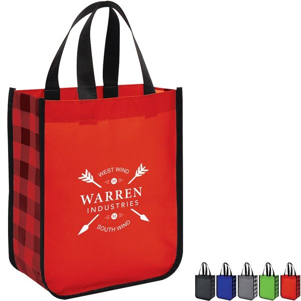 Northwoods Laminated Plaid Non-Woven Tote Bag
