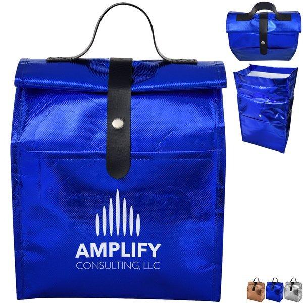 Metallic Non-Woven Roll Top Lunch Bag