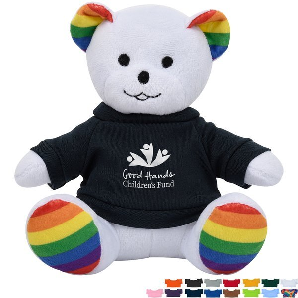 "Rainbow Plush Bear, 6"" w/ Shirt"