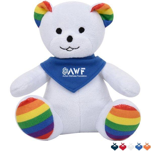 "Rainbow Plush Bear, 6"" w/ Bandana"
