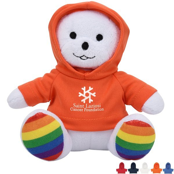 "Rainbow Plush Bear, 6"" w/ Hoodie"