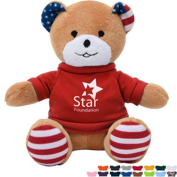 """Patriotic Plush Bear, 6"""" w/ Shirt"""