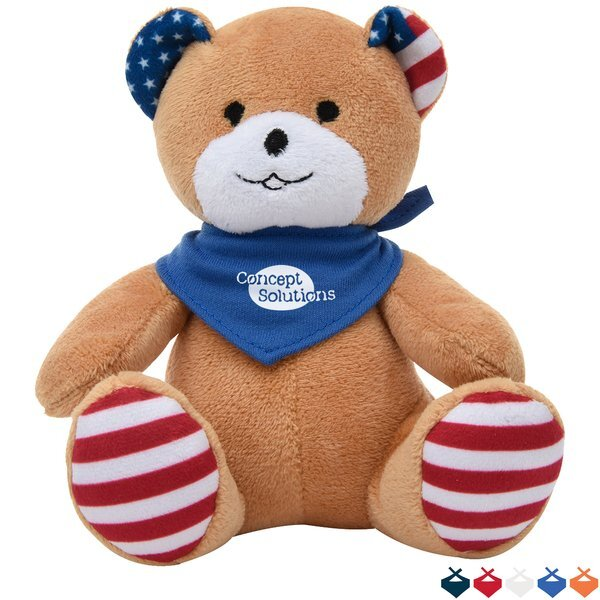 "Patriotic Plush Bear, 6"" w/ Bandana"