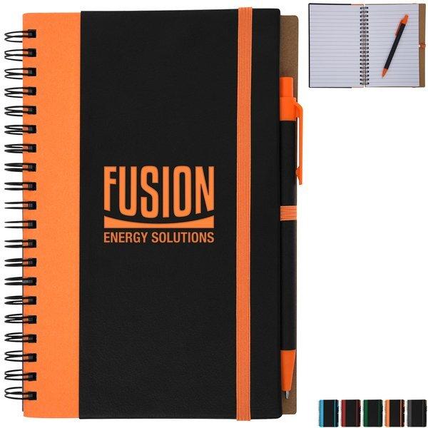 Color Underlay Spiral Notebook w/ Matching Pen Set