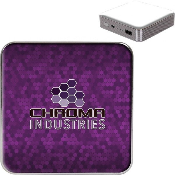 Capella Square Wireless Charger & Power Bank w/ Full Color Imprint, 10,000mAh
