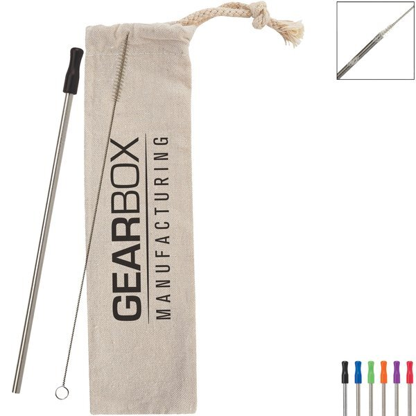 Stainless Straw Kit with Cotton Pouch