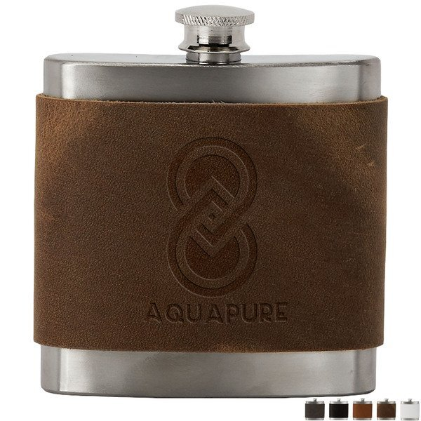 Brannigan Leather Wrapped Stainless Steel Flask