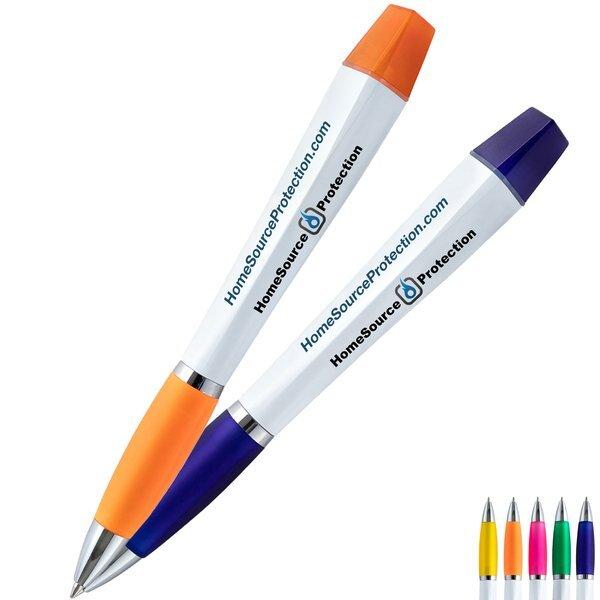 Twist Action Triangular Ad Pen & Highlighter