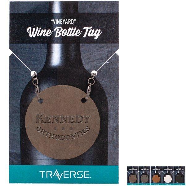 "Vineyard 2"" Round Leather Wine Bottle Tag"