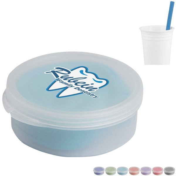 Silicone Straw in Round Case w/ Full Color Imprint