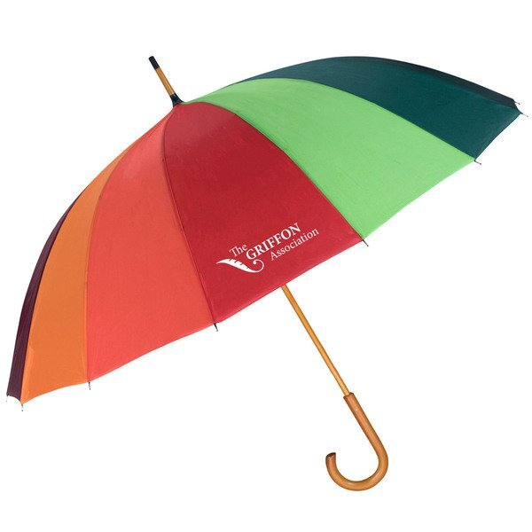 Rainbow Auto Open Wood Umbrella, 48""