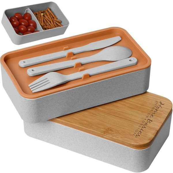 Eco-Friendly Wheat Straw Lunch Set w/ Bamboo Lid