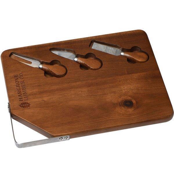 Acacia Wood Cutting Board & Cheese Knives