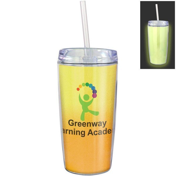 Glow in the Dark Wave Mug w/Straw, 16oz.