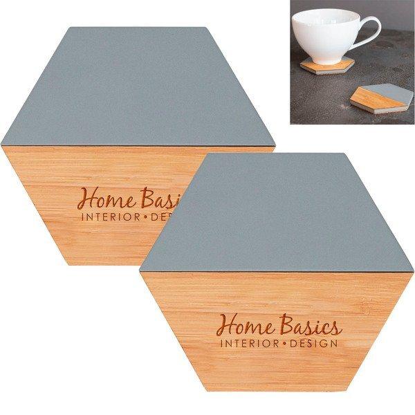 Stick & Stone 2-Piece Bamboo & Cement Coaster Set