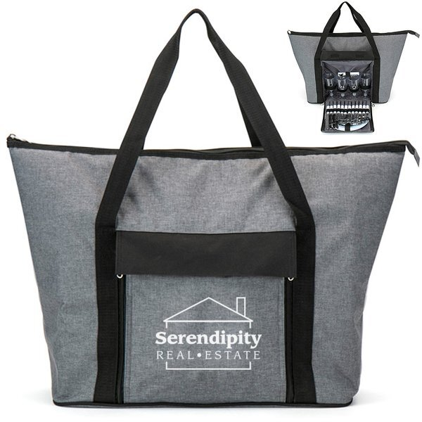 Large Insulated Picnic Tote Bag with Accessories