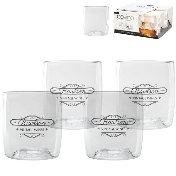 Dishwasher Safe Govino® Whiskey Glass 4 Pack, 14oz.