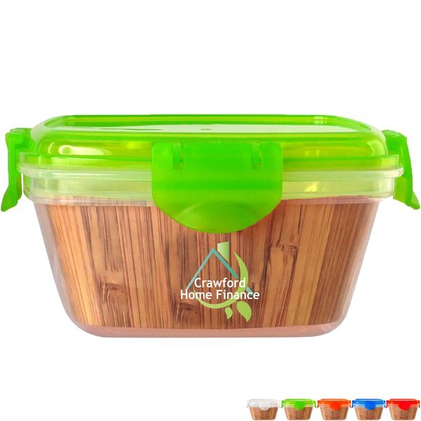 Bamboo Clip Top Container, Full Color Imprint