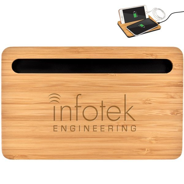 Bamboo Wireless Charger & Phone Stand