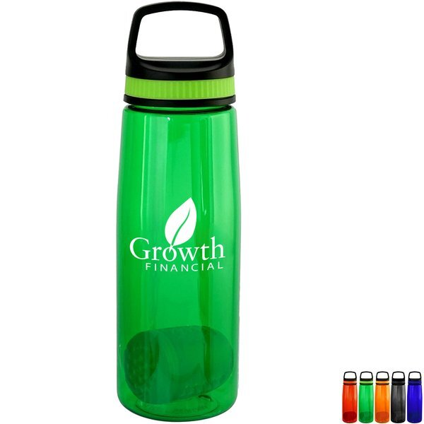 Handy Band-It Colorful Contour Bottle w/ Floating Infuser, 25oz.