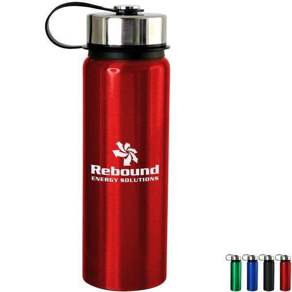 Metal Lanyard Lid Aluminum Water Bottle 24oz.